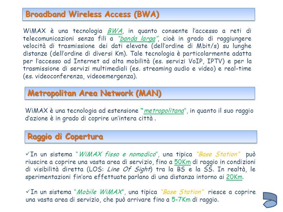 WiMAX è una tecnologia ad estensione metropolitana, in quanto il suo raggio dazione è in grado di coprire unintera città. WiMAX è una tecnologia BWA,