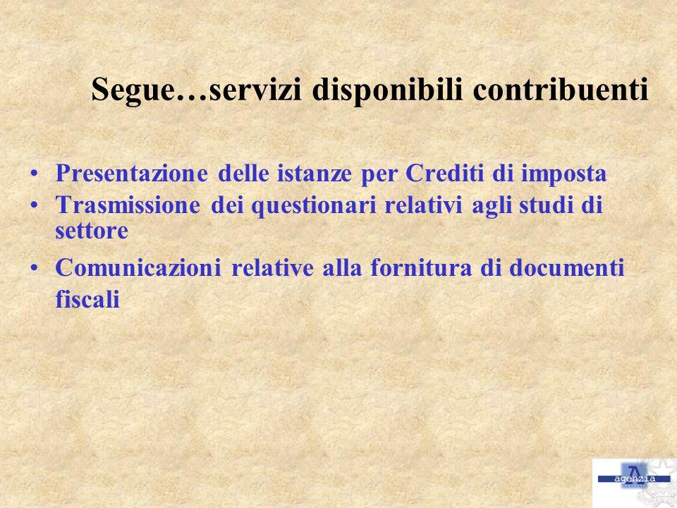 Segue…servizi disponibili contribuenti Presentazione delle istanze per Crediti di imposta Trasmissione dei questionari relativi agli studi di settore