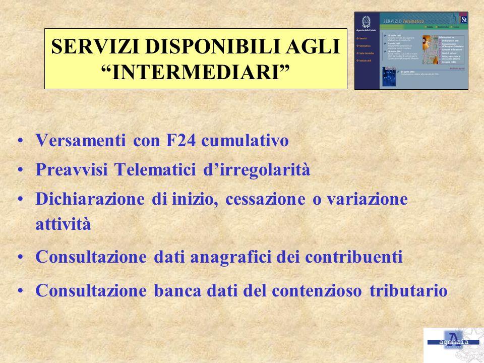 SERVIZI DISPONIBILI AGLI INTERMEDIARI Versamenti con F24 cumulativo Preavvisi Telematici dirregolarità Dichiarazione di inizio, cessazione o variazion
