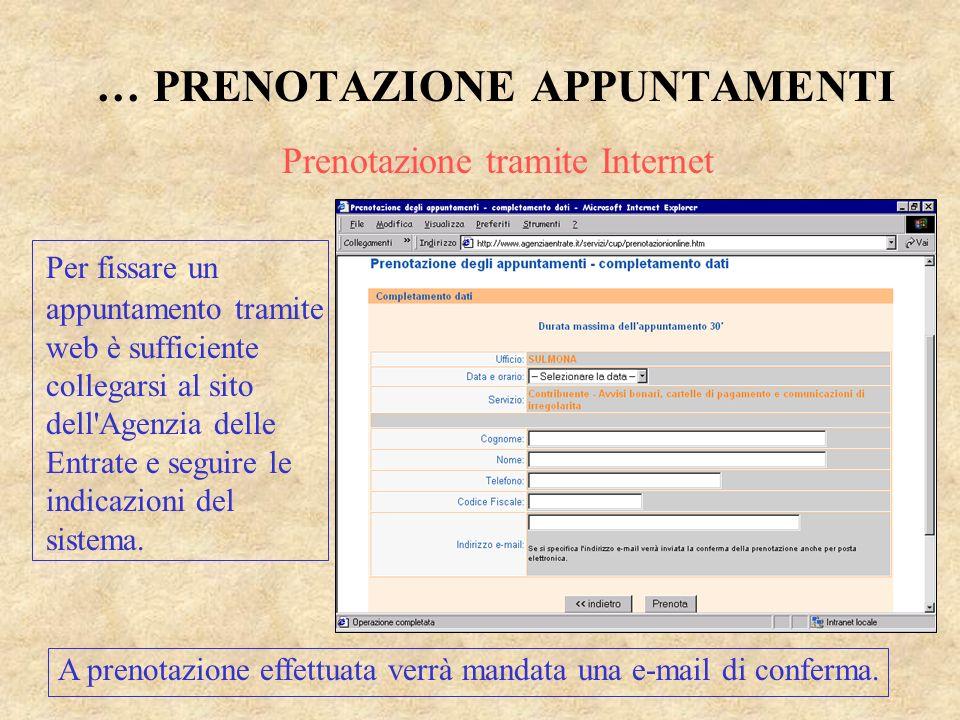 … PRENOTAZIONE APPUNTAMENTI Per fissare un appuntamento tramite web è sufficiente collegarsi al sito dell'Agenzia delle Entrate e seguire le indicazio