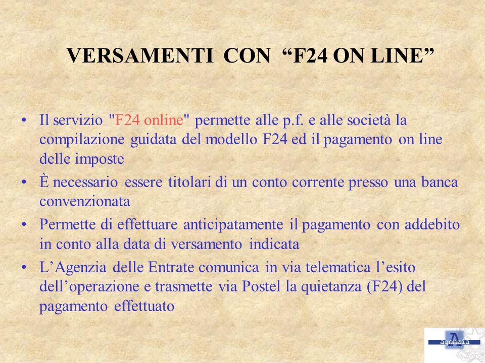 VERSAMENTI CON F24 ON LINE Il servizio