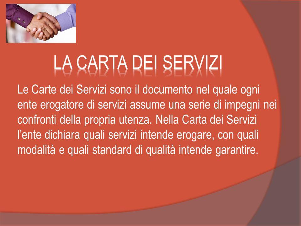 Le Carte dei Servizi sono il documento nel quale ogni ente erogatore di servizi assume una serie di impegni nei confronti della propria utenza. Nella