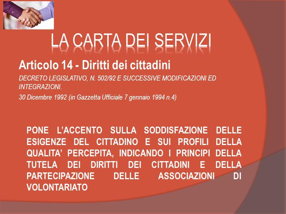 Articolo 14 - Diritti dei cittadini DECRETO LEGISLATIVO, N. 502/92 E SUCCESSIVE MODIFICAZIONI ED INTEGRAZIONI. 30 Dicembre 1992 (in Gazzetta Ufficiale