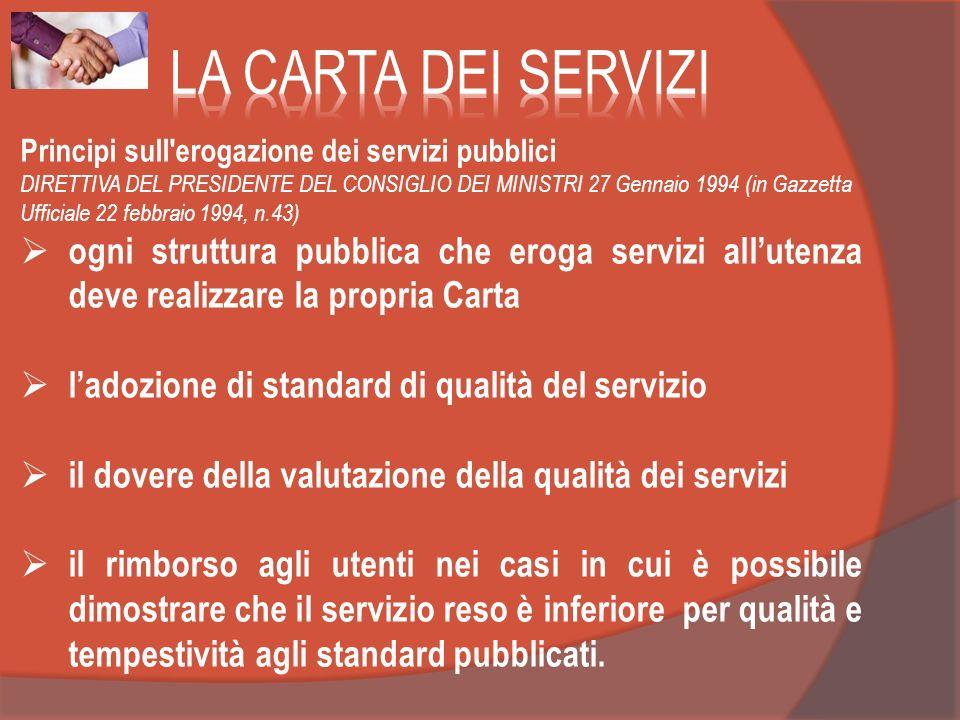 Principi sull'erogazione dei servizi pubblici DIRETTIVA DEL PRESIDENTE DEL CONSIGLIO DEI MINISTRI 27 Gennaio 1994 (in Gazzetta Ufficiale 22 febbraio 1