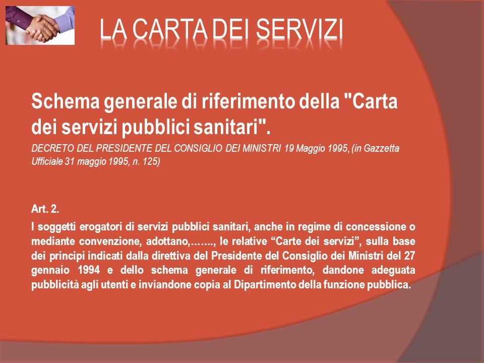Schema generale di riferimento della Carta dei servizi pubblici sanitari .