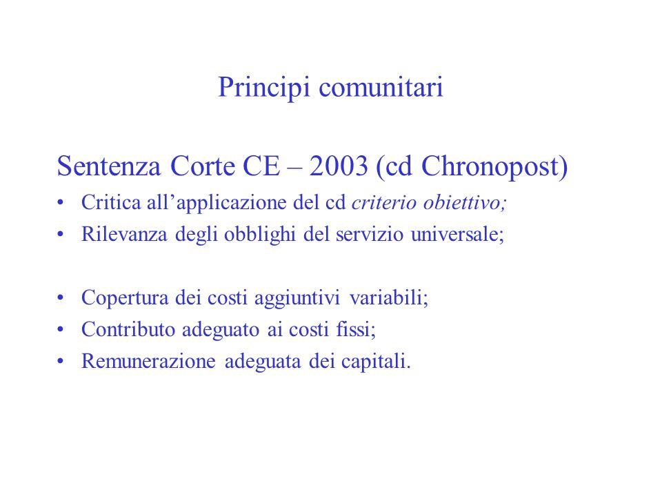 Principi comunitari Sentenza Corte CE – 2003 (cd Chronopost) Critica allapplicazione del cd criterio obiettivo; Rilevanza degli obblighi del servizio universale; Copertura dei costi aggiuntivi variabili; Contributo adeguato ai costi fissi; Remunerazione adeguata dei capitali.