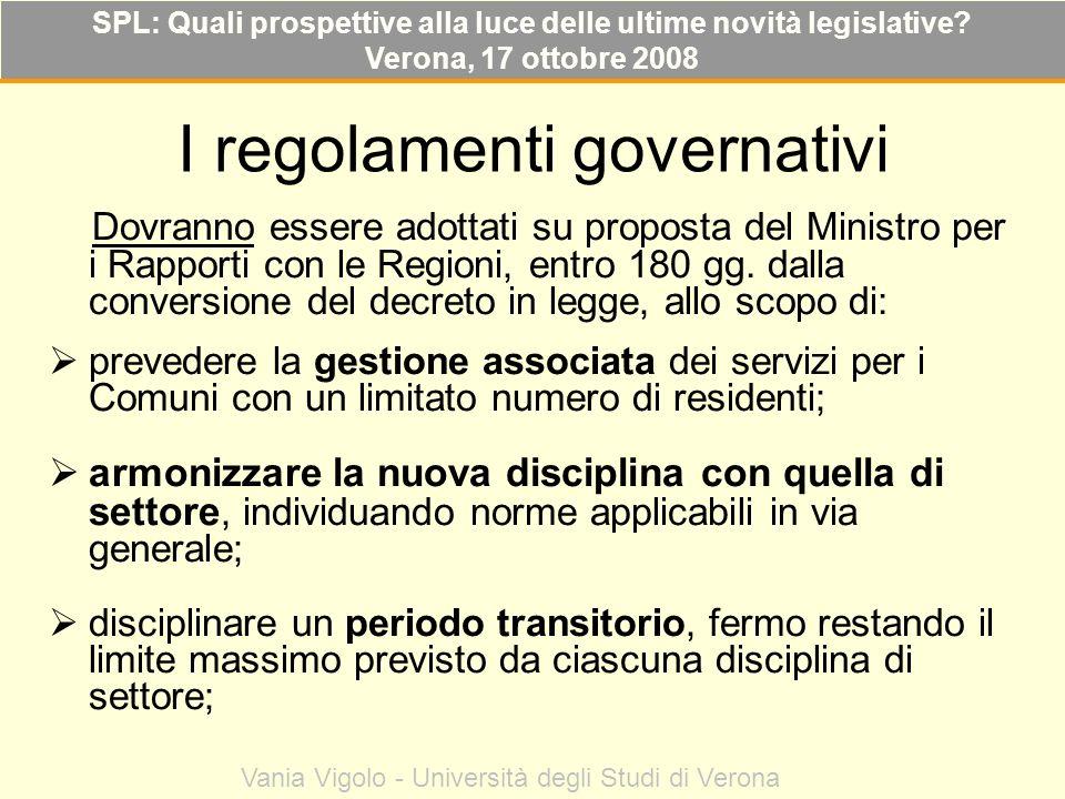 I regolamenti governativi Dovranno essere adottati su proposta del Ministro per i Rapporti con le Regioni, entro 180 gg. dalla conversione del decreto