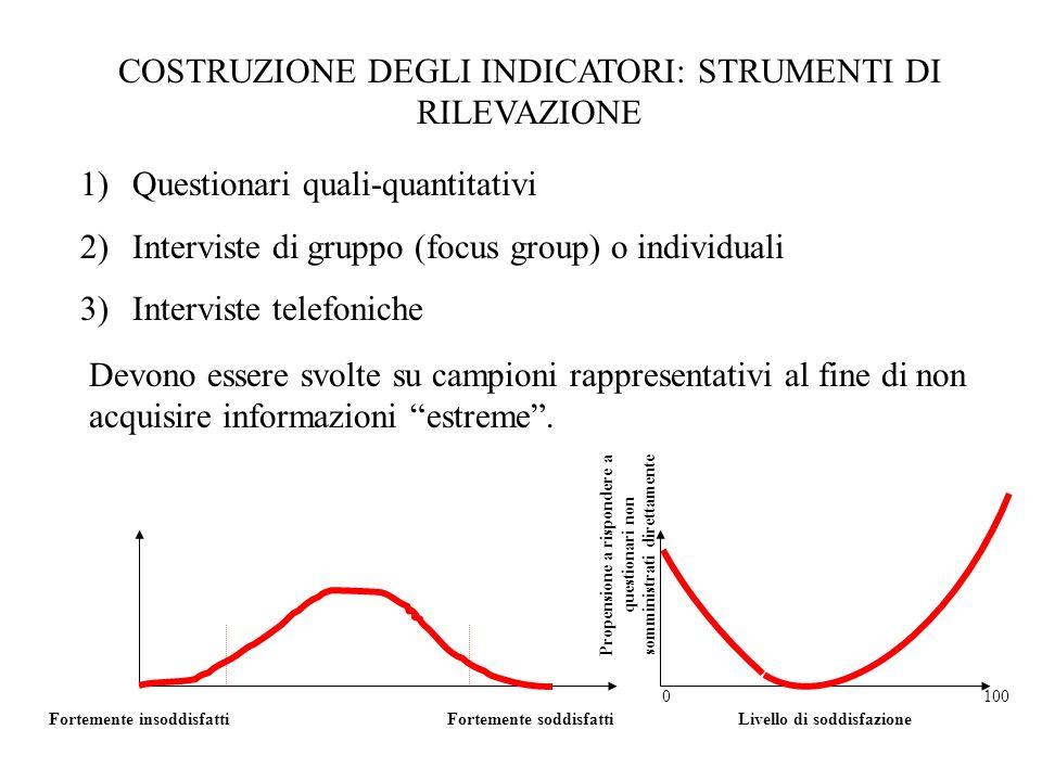 COSTRUZIONE DEGLI INDICATORI: STRUMENTI DI RILEVAZIONE 1)Questionari quali-quantitativi 2)Interviste di gruppo (focus group) o individuali 3)Intervist