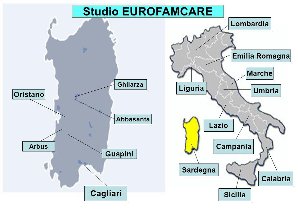 Cagliari Oristano Guspini Arbus Ghilarza Abbasanta Lombardia Liguria Emilia Romagna Marche Umbria Lazio Campania Sicilia Calabria Sardegna Studio EUROFAMCARE
