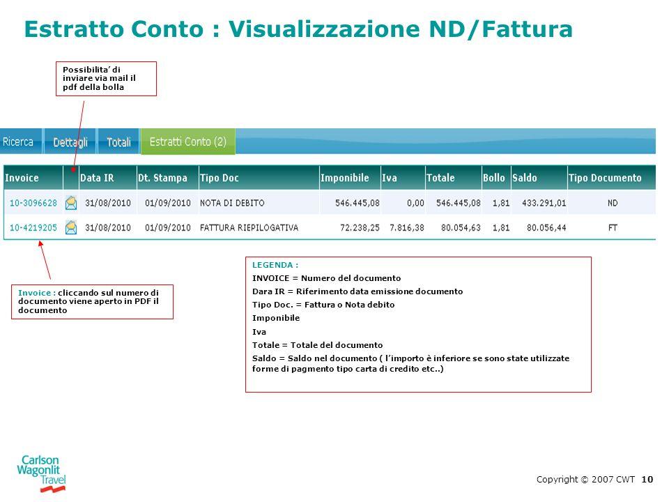 Copyright © 2007 CWT 10 Estratto Conto : Visualizzazione ND/Fattura Invoice : cliccando sul numero di documento viene aperto in PDF il documento LEGEN
