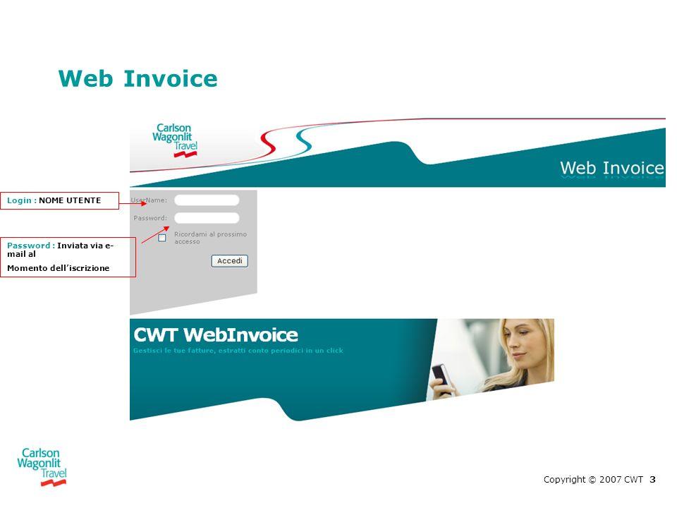Web Invoice Copyright © 2007 CWT 3 Login : NOME UTENTE Password : Inviata via e- mail al Momento delliscrizione