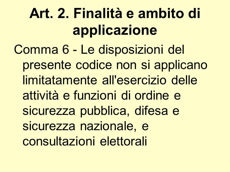 Art. 2. Finalità e ambito di applicazione Comma 6 - Le disposizioni del presente codice non si applicano limitatamente all'esercizio delle attività e