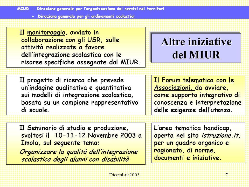 Dicembre 20038 Azioni comunitarie A livello europeo, lItalia fa parte dellEuropean Agency for development in special needs education.