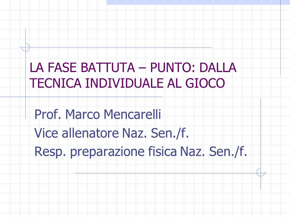LA FASE BATTUTA – PUNTO: DALLA TECNICA INDIVIDUALE AL GIOCO Prof. Marco Mencarelli Vice allenatore Naz. Sen./f. Resp. preparazione fisica Naz. Sen./f.