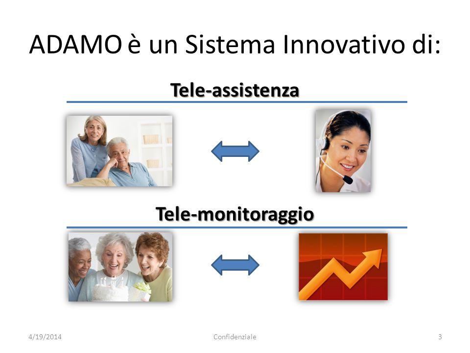 ADAMO è un Sistema Innovativo di: 4/19/2014Confidenziale3 Tele-assistenza Tele-monitoraggio