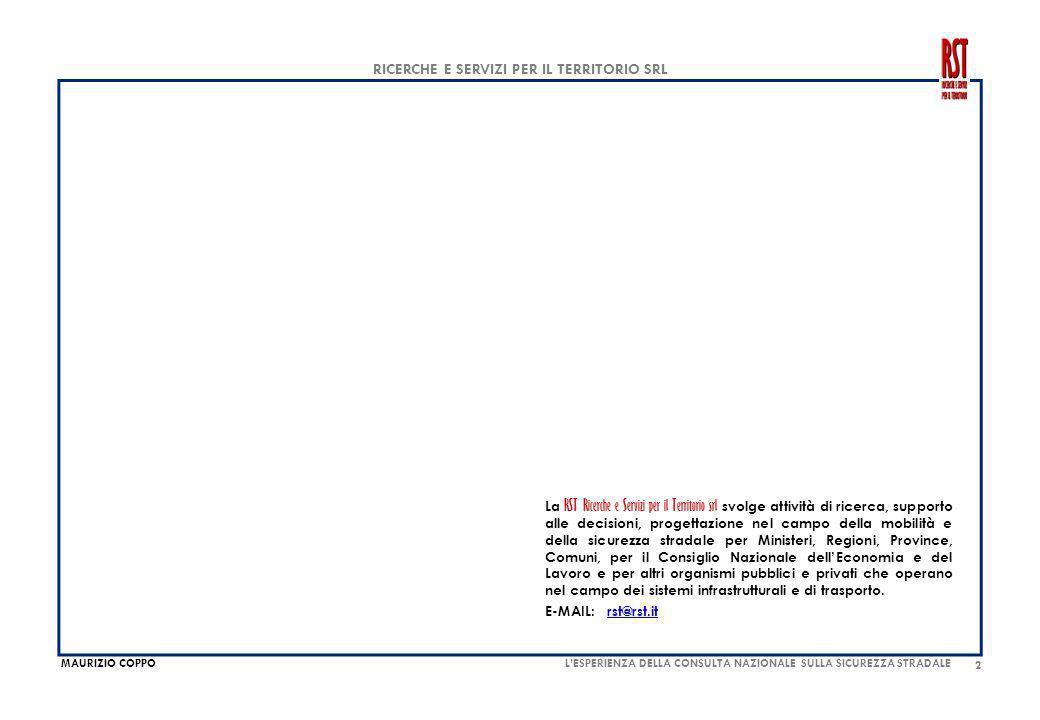MAURIZIO COPPO RICERCHE E SERVIZI PER IL TERRITORIO SRL 23 MONITORAGGIO DEI RISULTATI, VALUTAZIONE DEGLI INTERVENTI, GOVERNO DELLA SICUREZZA STRADALE