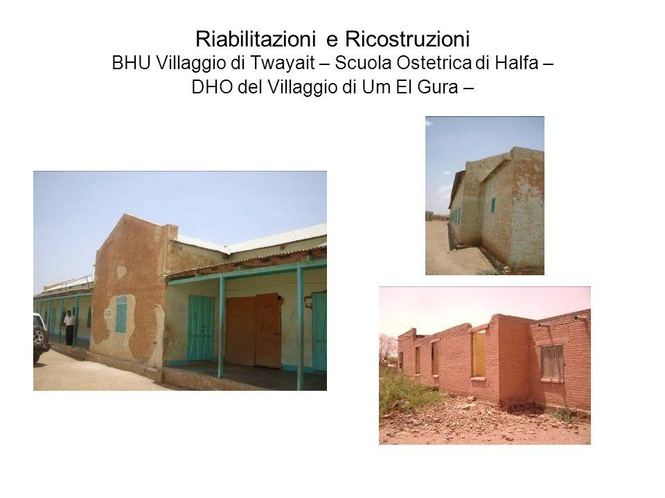 Riabilitazioni e Ricostruzioni BHU Villaggio di Twayait – Scuola Ostetrica di Halfa – DHO del Villaggio di Um El Gura –