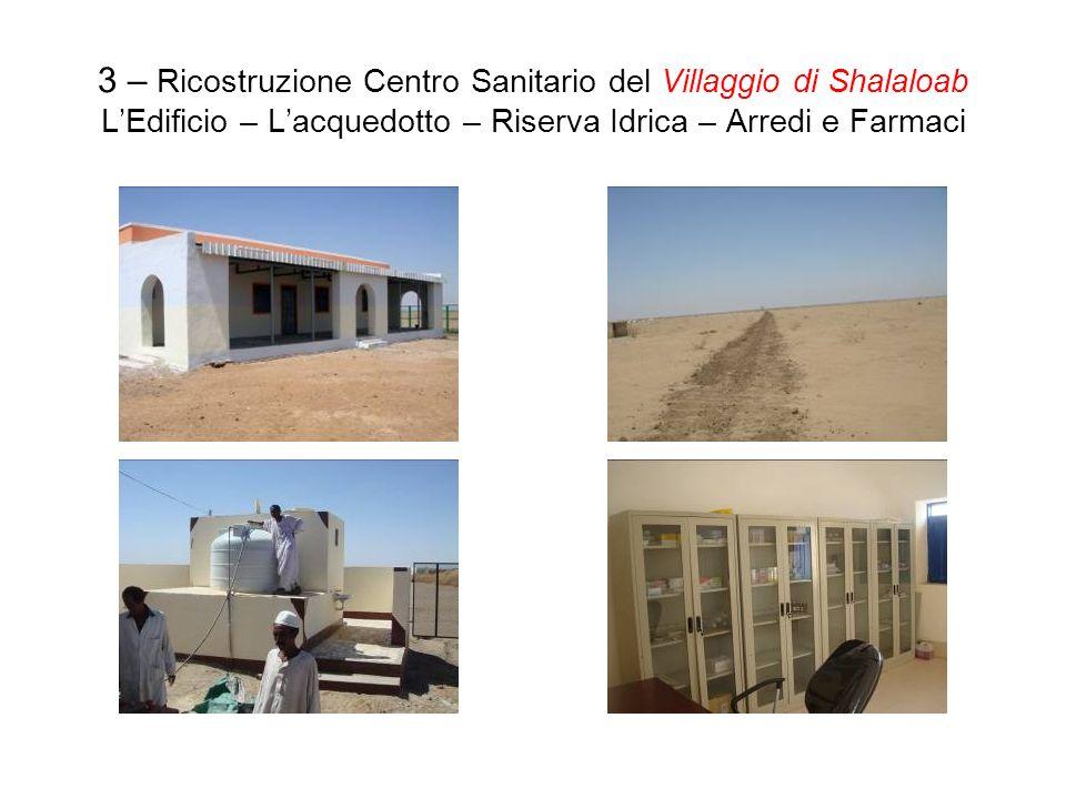 3 – Ricostruzione Centro Sanitario del Villaggio di Shalaloab LEdificio – Lacquedotto – Riserva Idrica – Arredi e Farmaci