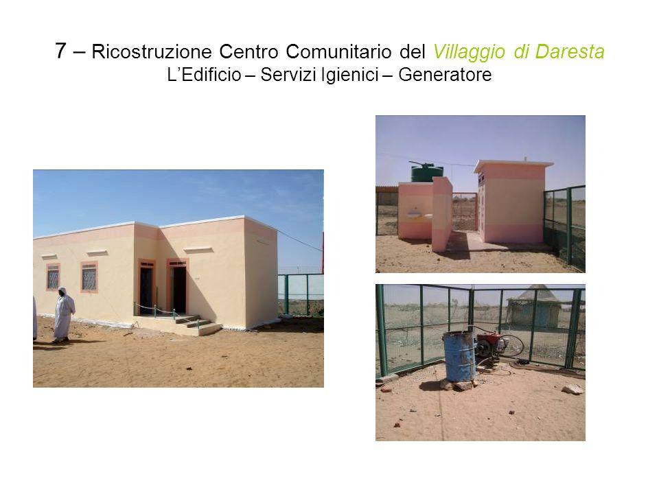 7 – Ricostruzione Centro Comunitario del Villaggio di Daresta LEdificio – Servizi Igienici – Generatore