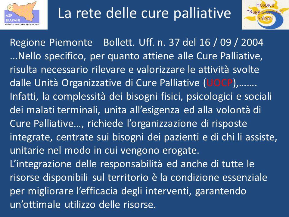 Hospice Raggio di Sole Salemi La rete delle cure palliative Regione Piemonte Bollett.