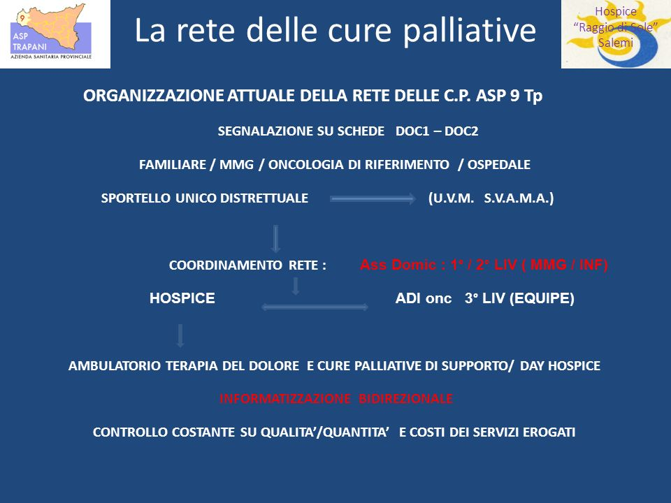 Hospice Raggio di Sole Salemi La rete delle cure palliative ORGANIZZAZIONE ATTUALE DELLA RETE DELLE C.P.