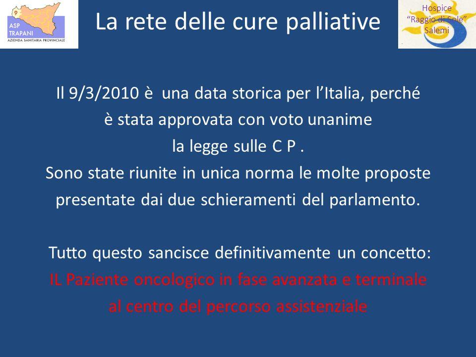 Hospice Raggio di Sole Salemi La rete delle cure palliative Il 9/3/2010 è una data storica per lItalia, perché è stata approvata con voto unanime la legge sulle C P.