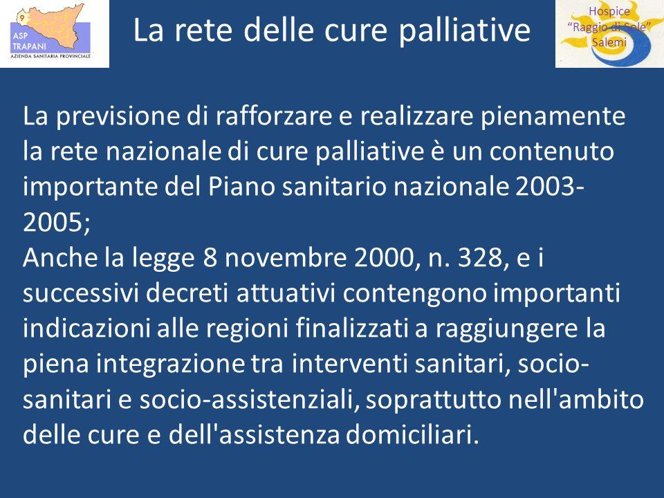 Hospice Raggio di Sole Salemi La rete delle cure palliative La previsione di rafforzare e realizzare pienamente la rete nazionale di cure palliative è un contenuto importante del Piano sanitario nazionale 2003- 2005; Anche la legge 8 novembre 2000, n.