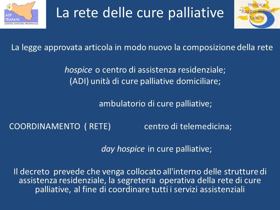 Hospice Raggio di Sole Salemi La rete delle cure palliative In Italia nel tempo si sono creati vari modelli operativi, con numerosi pregi e difetti.