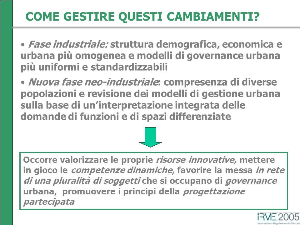 COME GESTIRE QUESTI CAMBIAMENTI? Fase industriale: struttura demografica, economica e urbana più omogenea e modelli di governance urbana più uniformi