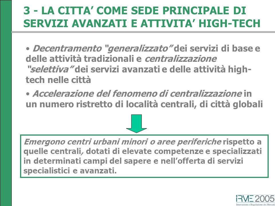 3 - LA CITTA COME SEDE PRINCIPALE DI SERVIZI AVANZATI E ATTIVITA HIGH-TECH Decentramento generalizzato dei servizi di base e delle attività tradiziona