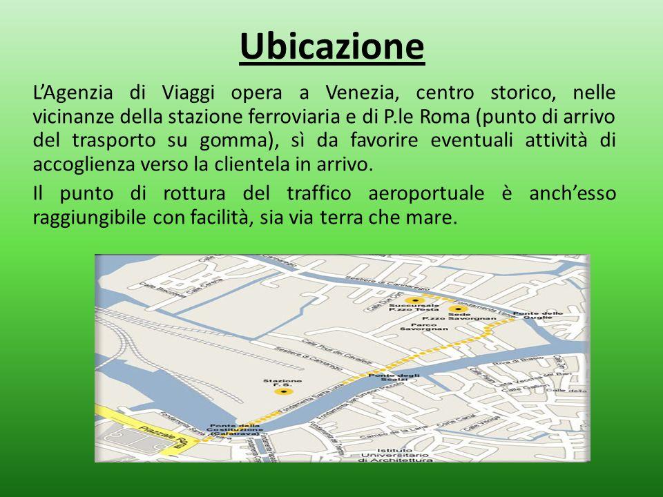 Ubicazione LAgenzia di Viaggi opera a Venezia, centro storico, nelle vicinanze della stazione ferroviaria e di P.le Roma (punto di arrivo del trasport