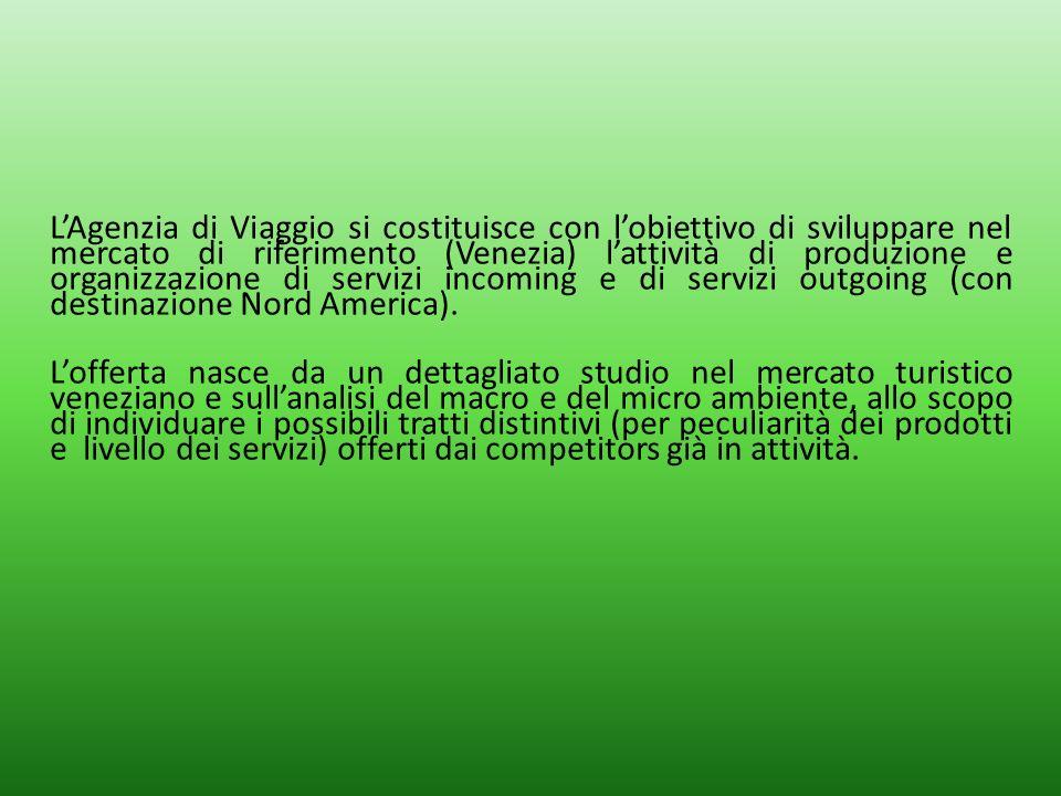 LAgenzia di Viaggio si costituisce con lobiettivo di sviluppare nel mercato di riferimento (Venezia) lattività di produzione e organizzazione di servi