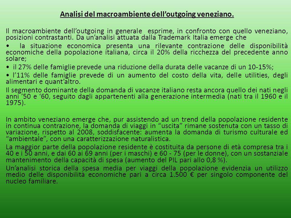 Analisi del macroambiente delloutgoing veneziano. Il macroambiente delloutgoing in generale esprime, in confronto con quello veneziano, posizioni cont