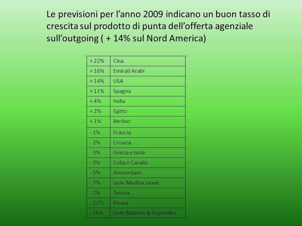 Le previsioni per lanno 2009 indicano un buon tasso di crescita sul prodotto di punta dellofferta agenziale sulloutgoing ( + 14% sul Nord America) + 2