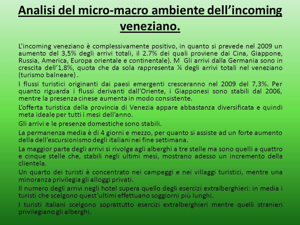 Analisi del micro-macro ambiente dellincoming veneziano. Lincoming veneziano è complessivamente positivo, in quanto si prevede nel 2009 un aumento del