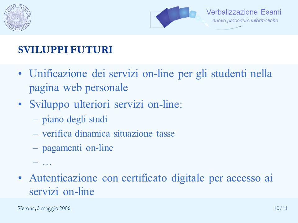 Verbalizzazione Esami nuove procedure informatiche Verona, 3 maggio 200610/11 SVILUPPI FUTURI Unificazione dei servizi on-line per gli studenti nella