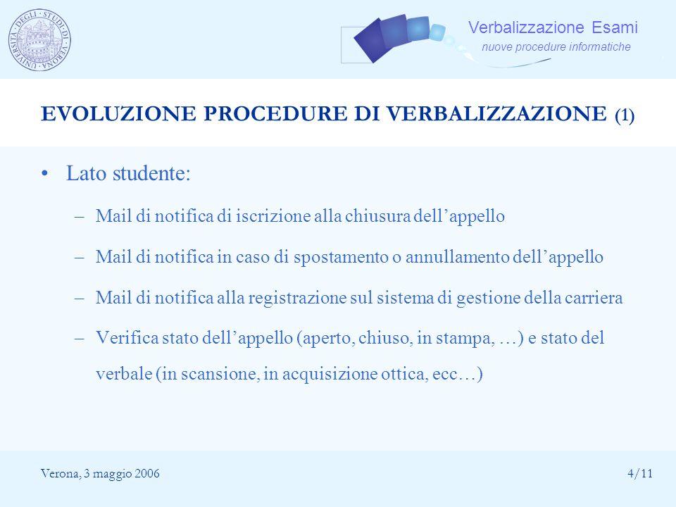 Verbalizzazione Esami nuove procedure informatiche Verona, 3 maggio 20064/11 EVOLUZIONE PROCEDURE DI VERBALIZZAZIONE (1) Lato studente: –Mail di notif