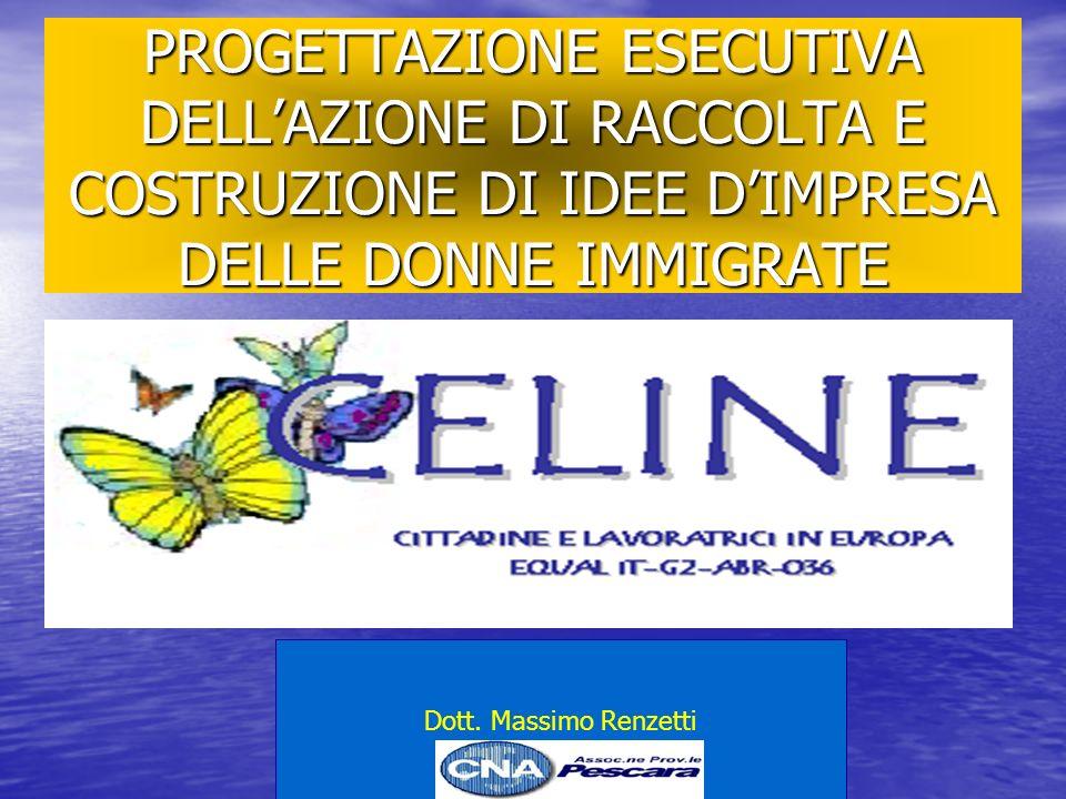 PROGETTAZIONE ESECUTIVA DELLAZIONE DI RACCOLTA E COSTRUZIONE DI IDEE DIMPRESA DELLE DONNE IMMIGRATE Dott.