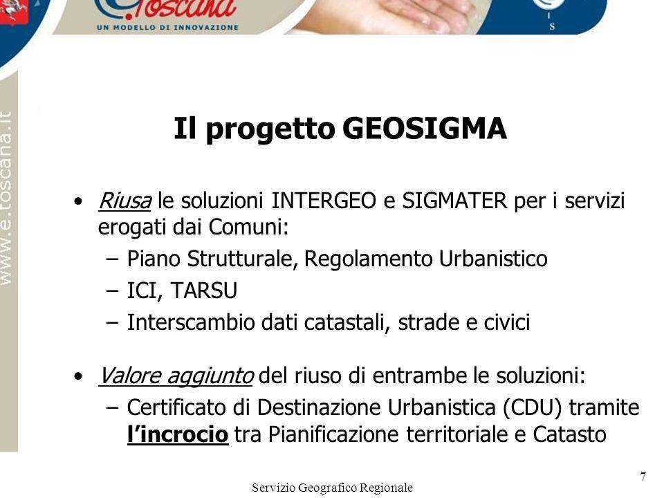 Servizio Geografico Regionale 7 Il progetto GEOSIGMA Riusa le soluzioni INTERGEO e SIGMATER per i servizi erogati dai Comuni: –Piano Strutturale, Rego