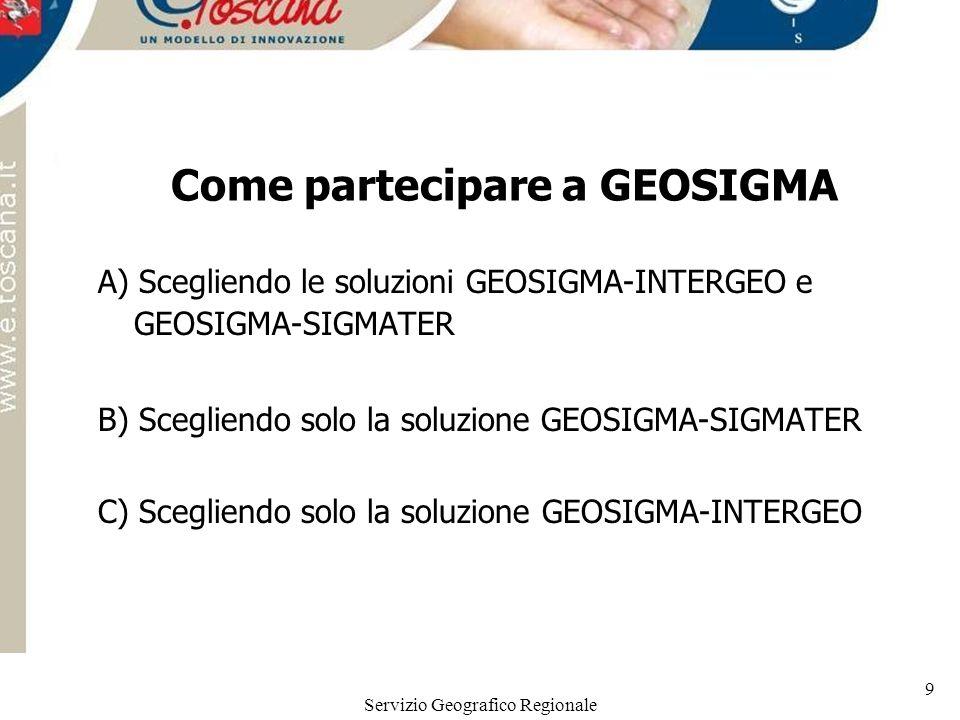 Servizio Geografico Regionale 9 Come partecipare a GEOSIGMA A) Scegliendo le soluzioni GEOSIGMA-INTERGEO e GEOSIGMA-SIGMATER B) Scegliendo solo la sol