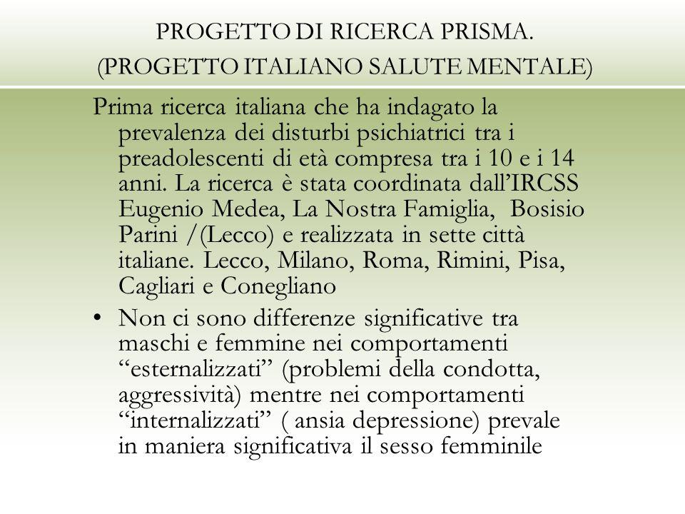 PROGETTO DI RICERCA PRISMA. (PROGETTO ITALIANO SALUTE MENTALE) Prima ricerca italiana che ha indagato la prevalenza dei disturbi psichiatrici tra i pr