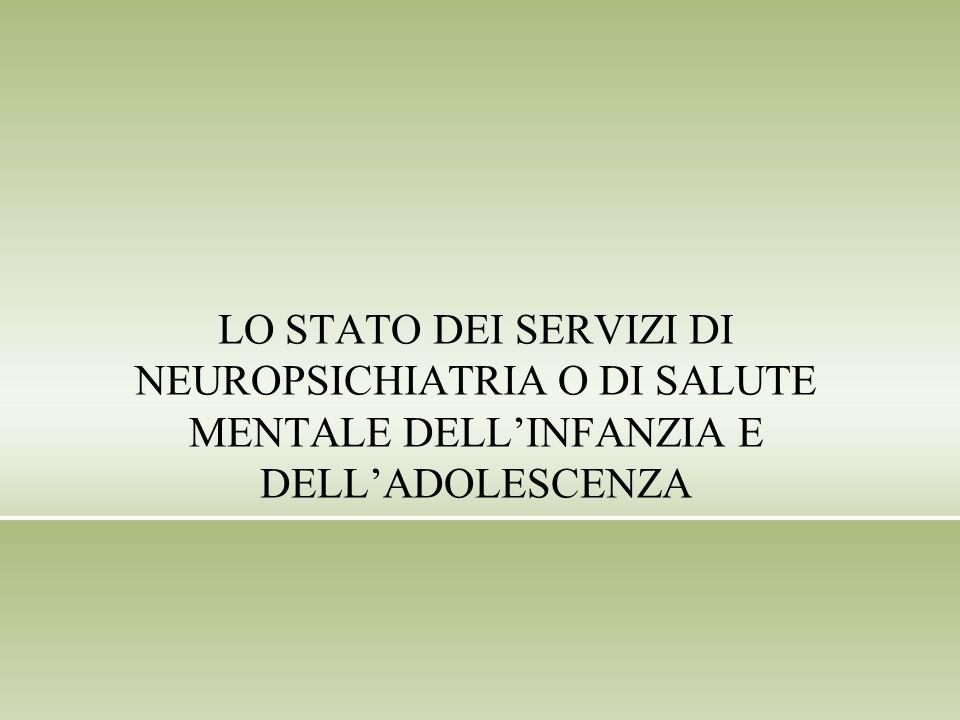 LO STATO DEI SERVIZI DI NEUROPSICHIATRIA O DI SALUTE MENTALE DELLINFANZIA E DELLADOLESCENZA