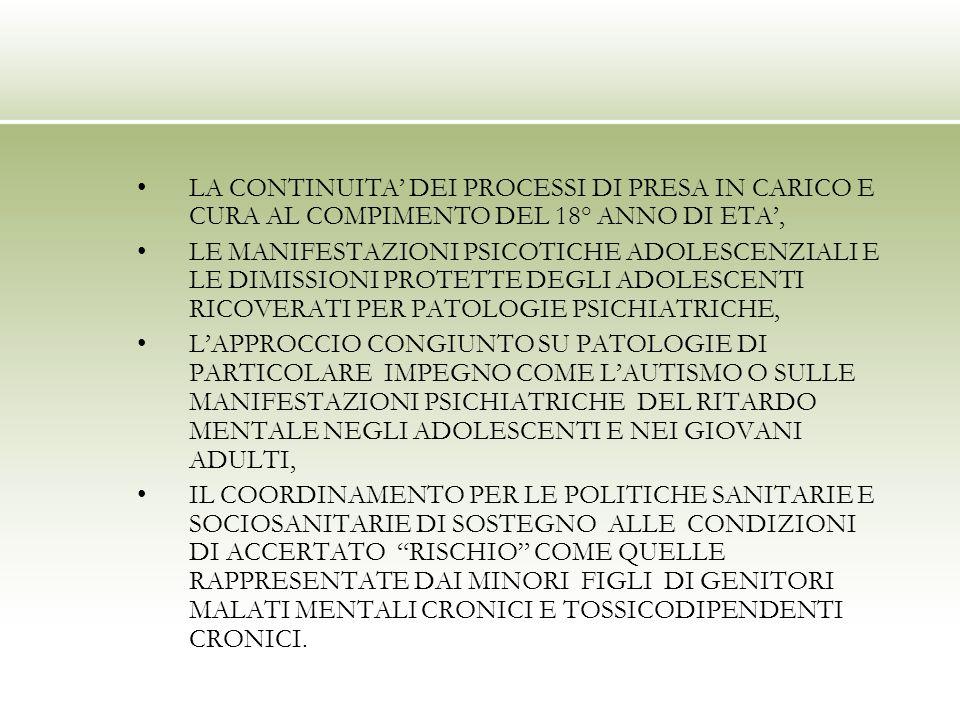 LA CONTINUITA DEI PROCESSI DI PRESA IN CARICO E CURA AL COMPIMENTO DEL 18° ANNO DI ETA, LE MANIFESTAZIONI PSICOTICHE ADOLESCENZIALI E LE DIMISSIONI PROTETTE DEGLI ADOLESCENTI RICOVERATI PER PATOLOGIE PSICHIATRICHE, LAPPROCCIO CONGIUNTO SU PATOLOGIE DI PARTICOLARE IMPEGNO COME LAUTISMO O SULLE MANIFESTAZIONI PSICHIATRICHE DEL RITARDO MENTALE NEGLI ADOLESCENTI E NEI GIOVANI ADULTI, IL COORDINAMENTO PER LE POLITICHE SANITARIE E SOCIOSANITARIE DI SOSTEGNO ALLE CONDIZIONI DI ACCERTATO RISCHIO COME QUELLE RAPPRESENTATE DAI MINORI FIGLI DI GENITORI MALATI MENTALI CRONICI E TOSSICODIPENDENTI CRONICI.