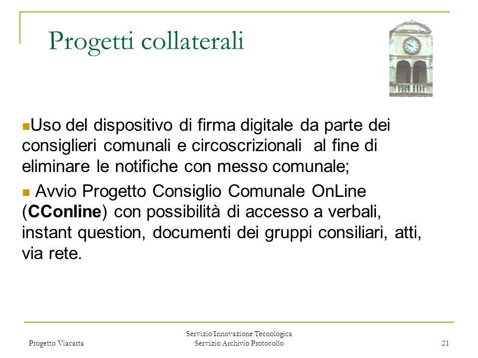 Progetto Viacarta Servizio Innovazione Tecnologica Servizio Archivio Protocollo 21 Progetti collaterali Uso del dispositivo di firma digitale da parte