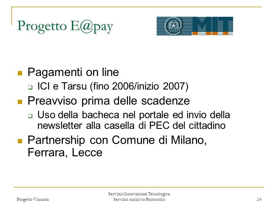 Progetto Viacarta Servizio Innovazione Tecnologica Servizio Archivio Protocollo 24 Pagamenti on line ICI e Tarsu (fino 2006/inizio 2007) Preavviso pri