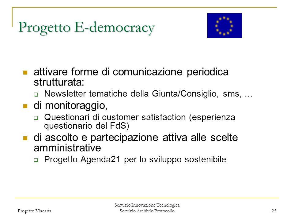Progetto Viacarta Servizio Innovazione Tecnologica Servizio Archivio Protocollo 25 attivare forme di comunicazione periodica strutturata: Newsletter t