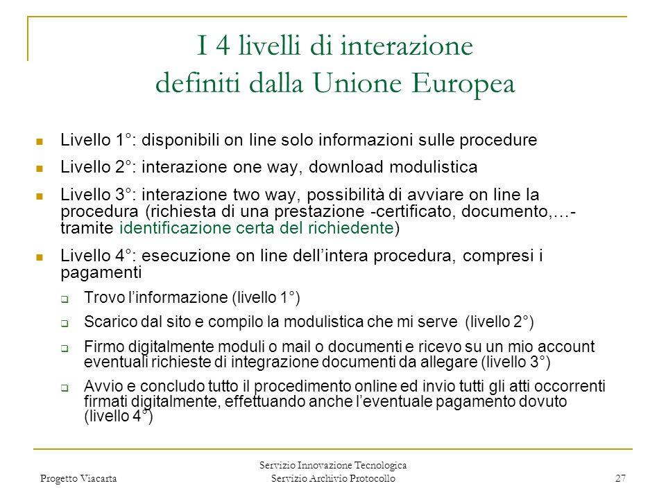 Progetto Viacarta Servizio Innovazione Tecnologica Servizio Archivio Protocollo 27 I 4 livelli di interazione definiti dalla Unione Europea Livello 1°