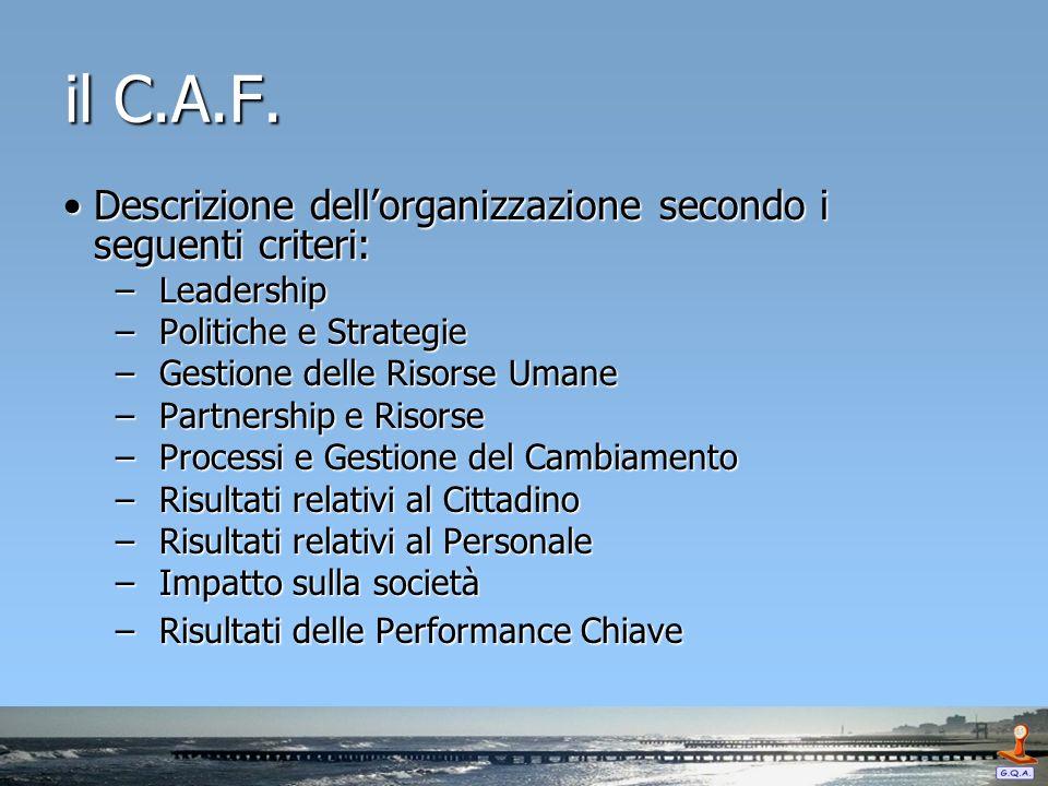 il C.A.F. Descrizione dellorganizzazione secondo i seguenti criteri:Descrizione dellorganizzazione secondo i seguenti criteri: – Leadership – Politich