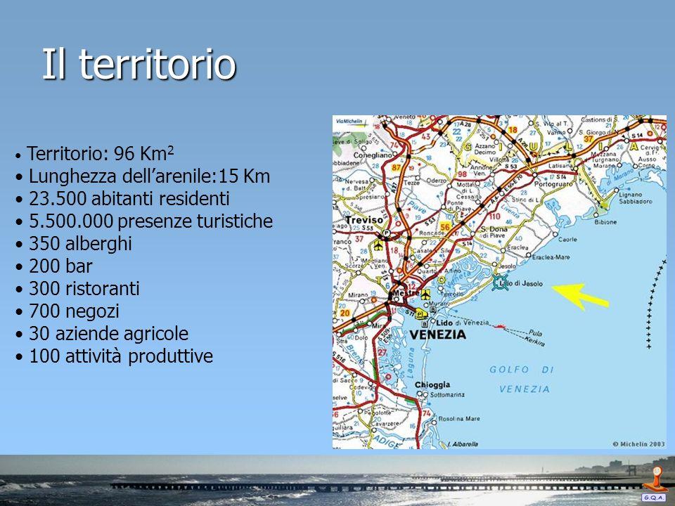 Il territorio Territorio: 96 Km 2 Lunghezza dellarenile:15 Km 23.500 abitanti residenti 5.500.000 presenze turistiche 350 alberghi 200 bar 300 ristora