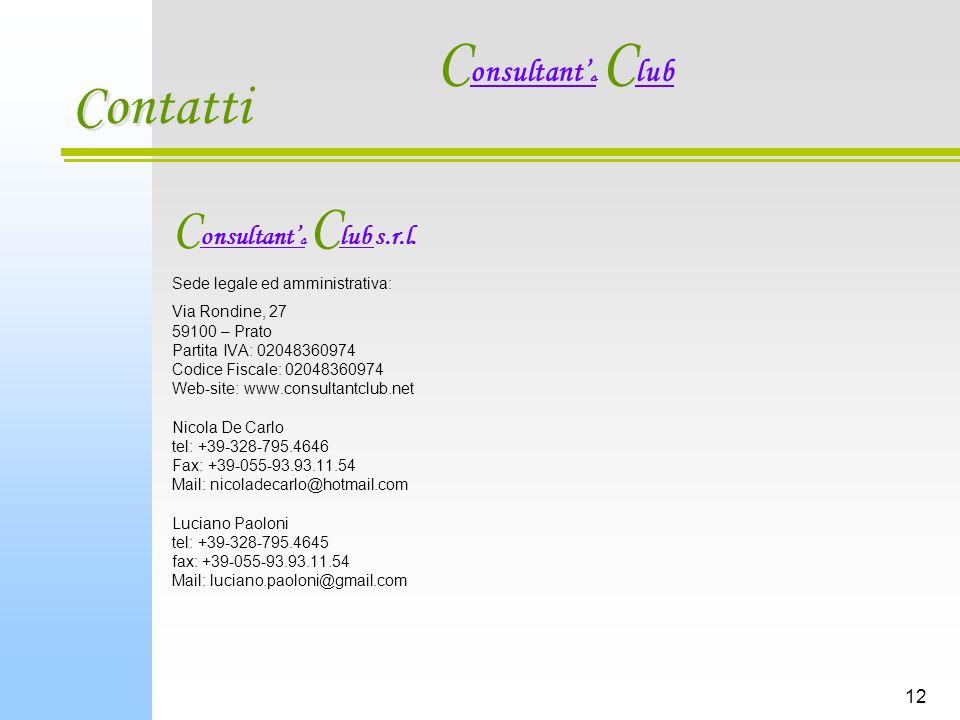 12 Contatti C onsultant s C lub s.r.l.
